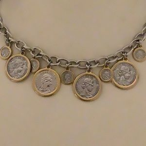Jewelry - Beautiful Silver W/ Gold Bezels Coin Necklace